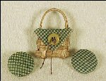 Miniature Handwoven Basket Pin Set Green Gingham