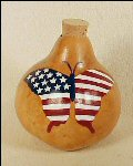 Patriotic Gourd Art Basket Stars & Stripes Flag Butterfly - Large