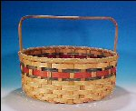 Huge Vintage Woven Market Storage Basket Round / Bands of Red and Blue