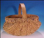 Vintage Oak Splint Buttocks Ribbed Egg Basket