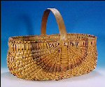 Vintage Tri-Color Oak Ribbed Buttocks Egg Basket