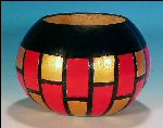 Hand Crafted GOURD ART BASKET Horizontal Stripe Red, Black & Metallic Gold