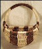 Hand Woven Hanging Wall Basket Half-Round Melon Shape / Natural & Brown SOLD!